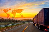 picture of ship  - Truck on road and World map background  - JPG