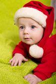 foto of santa baby  - Christmas little baby boy with Santa hat  - JPG
