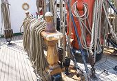 image of tall ship  - Ropes on deck of an old tall-ship