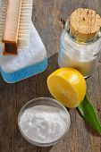 foto of spring-cleaning  - cleaning tools with lemon and sodium bicarbonate - JPG