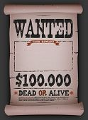 Wanted Vintage Poster On Parchment poster