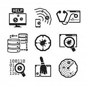 stock photo of virus scan  - Computer Anti Virus icons set  - JPG
