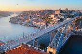 picture of dom  - Skyline of Porto with famous Dom Luis I bridge on the foreground - JPG