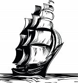 image of sailing-ship  - Old sail ship - JPG