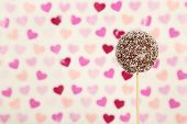 stock photo of cake pop  - Tasty cake pop on color background - JPG