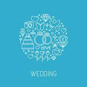 stock photo of ring-dove  - Vector wedding emblem in outline style  - JPG