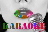 image of karaoke  - Woman and retro microphone - JPG