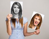stock photo of mood  - Portrait of a woman changing her mood - JPG