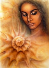image of airbrush  - A beautiful airbrush portrait of a young woman with closed eyes meditating upon a spiraling seashell - JPG