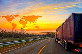 picture of south east asia  - Truck on road and World map background  - JPG