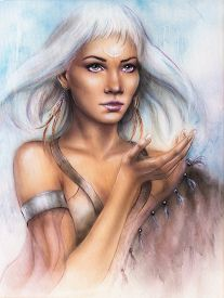 stock photo of airbrush  - A beautiful airbrush portrait of a young enchanting woman warrior with feathers white shiny hair and a palm stretched - JPG