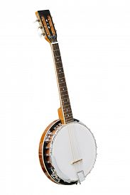 picture of banjo  - The image of white banjo isolated under the white background - JPG