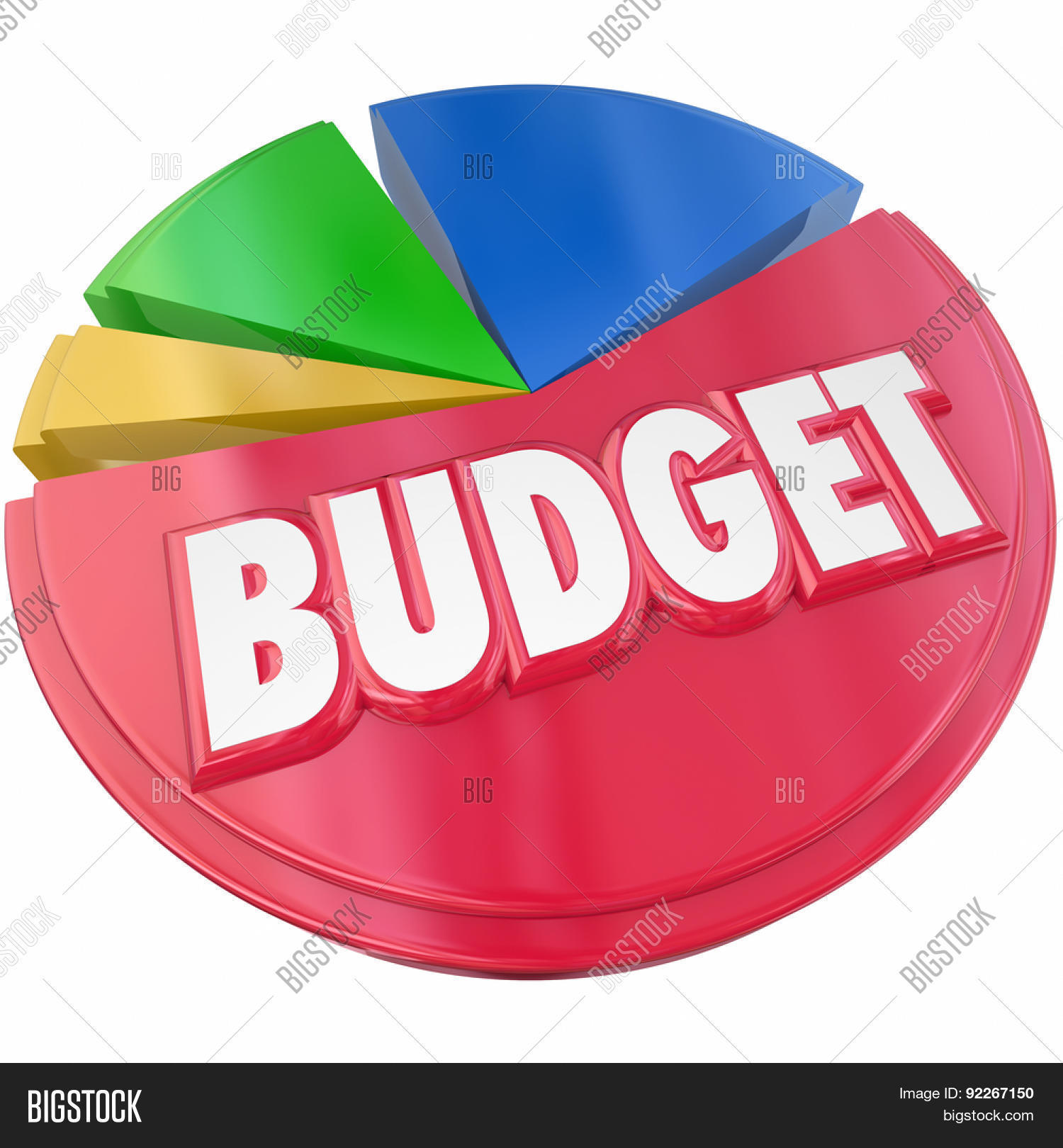 Budget 3d word on pie chart image photo bigstock budget 3d word on a pie chart to illustrate planning your money spending or saving for nvjuhfo Image collections