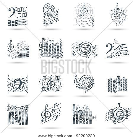 Music notes black icons set