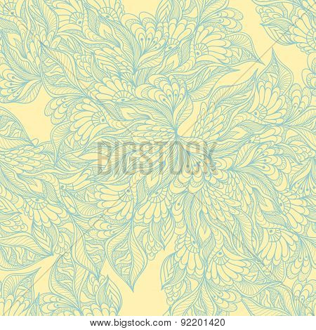 Seamless pattern with doodle flowers in yellow
