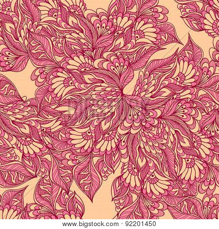 Seamless pattern with doodle flowers in pink