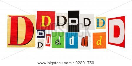 D inscription letters set