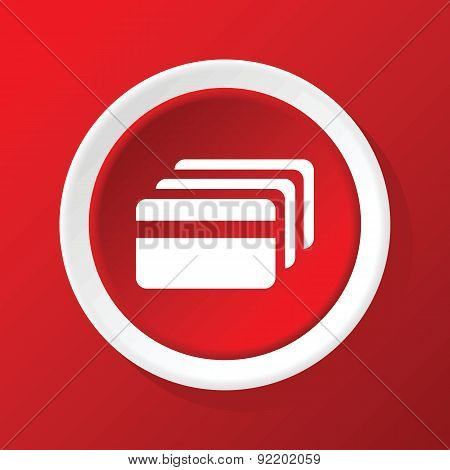 Credit card icon on red