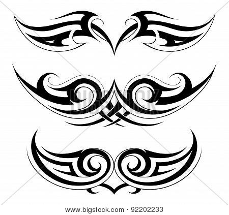 Set of tattoo shapes on symmetry basis
