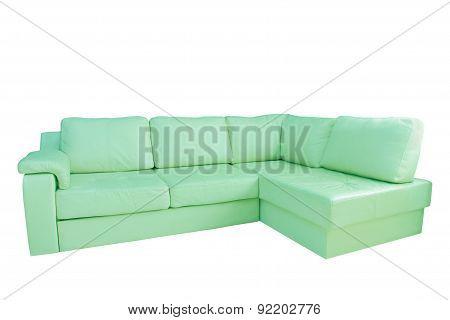 Mint Leather Corner Sofa.isolated.
