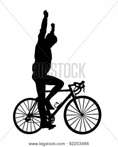 Silhouette of a cyclist on a road bike isolated on white background.