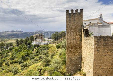 Medieval Fort Wall In The Spanish Moor Town Of Ronda.