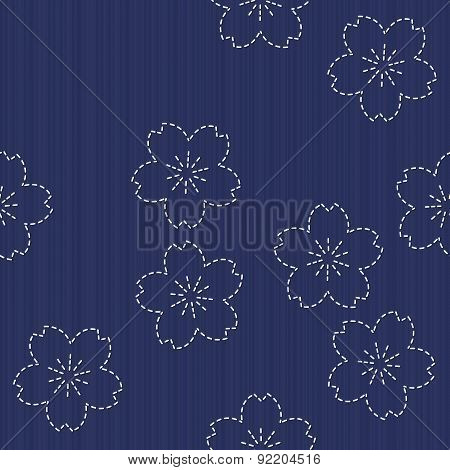 Traditional Japanese Embroidery Ornament with blooming sakura flowers. Sashiko. Seamless.