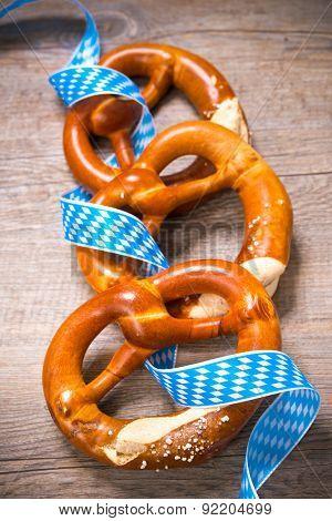 Bavarian Pretzels with ribbon, Oktoberfest