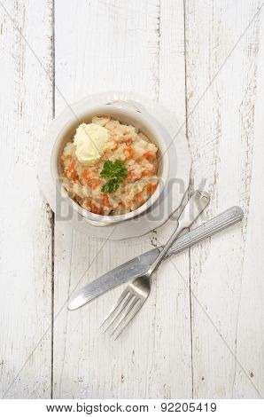 Mashed Potatoes With Carrots, Butter And Parsley