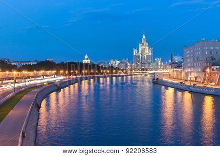 Dusk view of the Kotelnicheskaya Embankment Building, Moscow