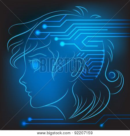 Vector linart glowing teen proflie