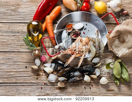 Seafood And Vegetables For Paella