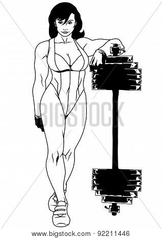muscular girl in a swimsuit with a barbell