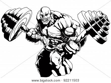 Bodybuilder flex heavy barbell