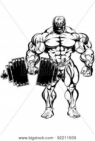 Bodybuilder with heavy dumbbell