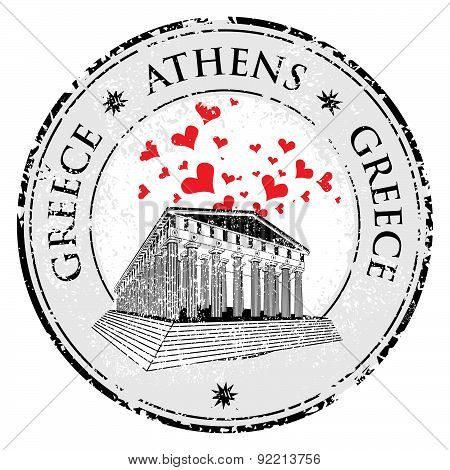 Love Heart Stamp With The Parthenon Shape From Greece And The Name Greece Written Inside The Stamp