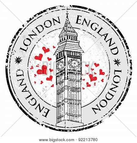 Grunge Love Heart Stamp London Great Britain, Big Ben Tower Vector