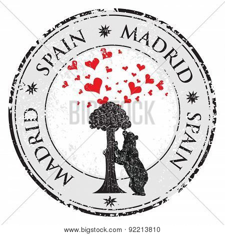 Love Heart Stamp With Statue Of Bear And Strawberry Tree And The Words Madrid, Spain Inside, Vector