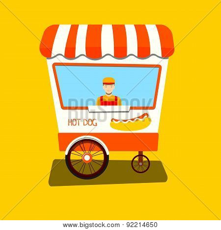 Vendor hot dog. Hot dog cart. Flat vector illustration for your design.