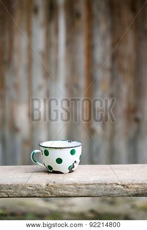 Charming Vintage Dotted Metal Cup