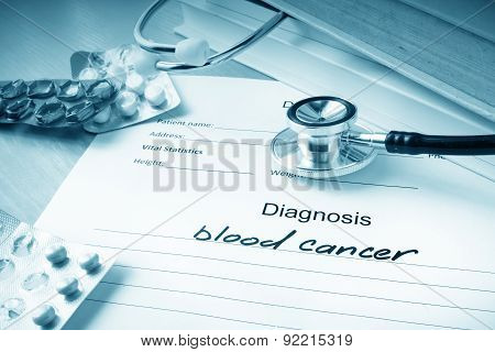 Diagnostic form with diagnosis blood cancer.