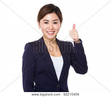 Asian businesswoman with thumb up gesture