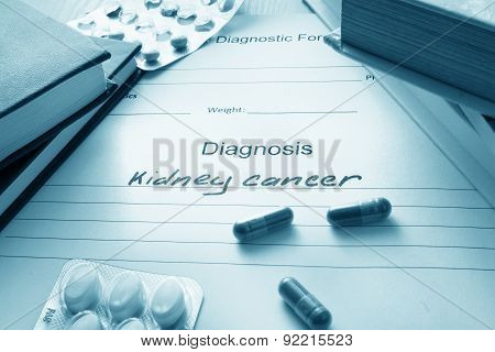 Diagnostic form with diagnosis kidney cancer.