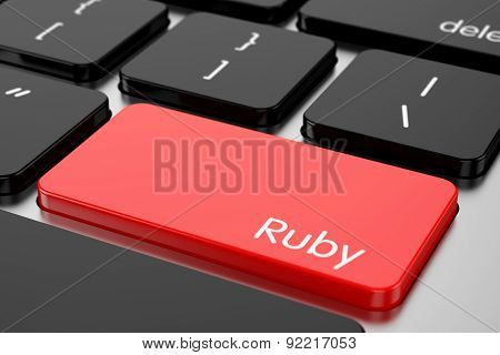 Red Enter Button With Machine Code Language Ruby