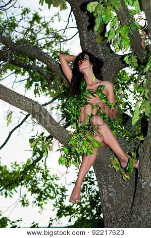 charming woman sitting on the tree in leaves