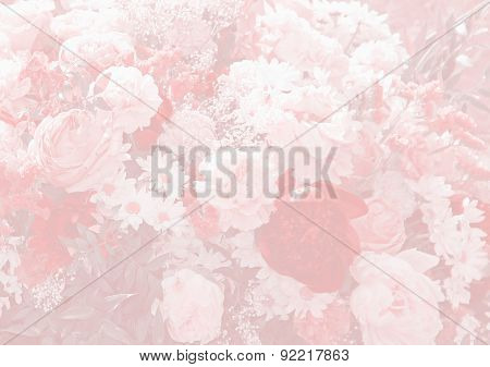 Floral Background Design With Paeony And Daisies