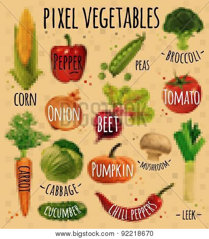 Pixel vegetables kraft