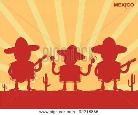 Mexican Men Playing Instruments.vector