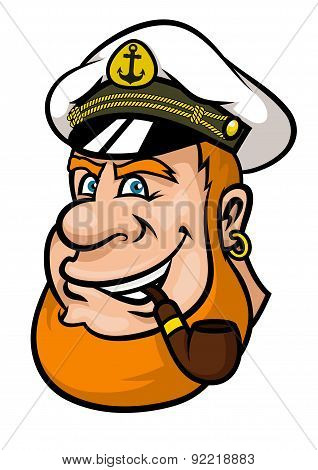 Happy cartoon captain or sailor character