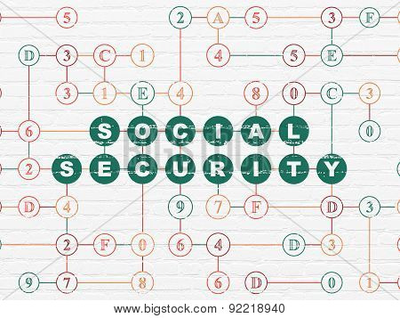 Security concept: Social Security on wall background